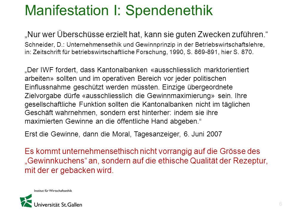 Manifestation I: Spendenethik