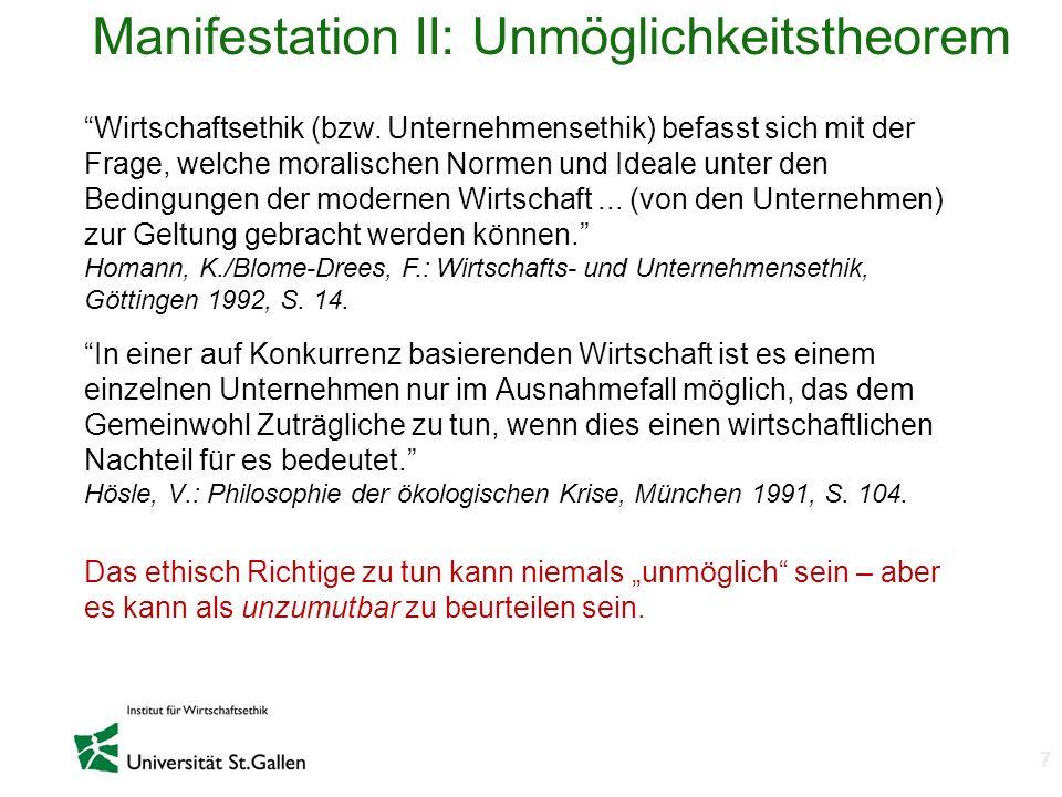 Manifestation II: Unmöglichkeitstheorem