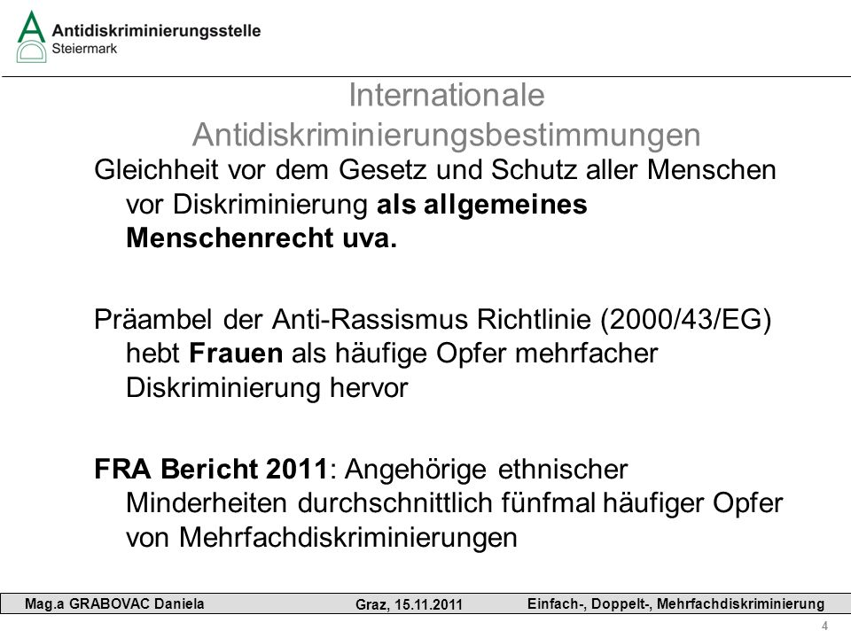 Internationale Antidiskriminierungsbestimmungen