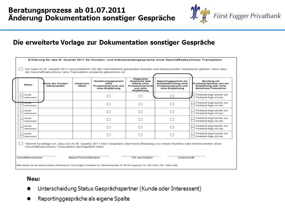 Beratungsprozess ab 01.07.2011 Änderung Dokumentation sonstiger Gespräche