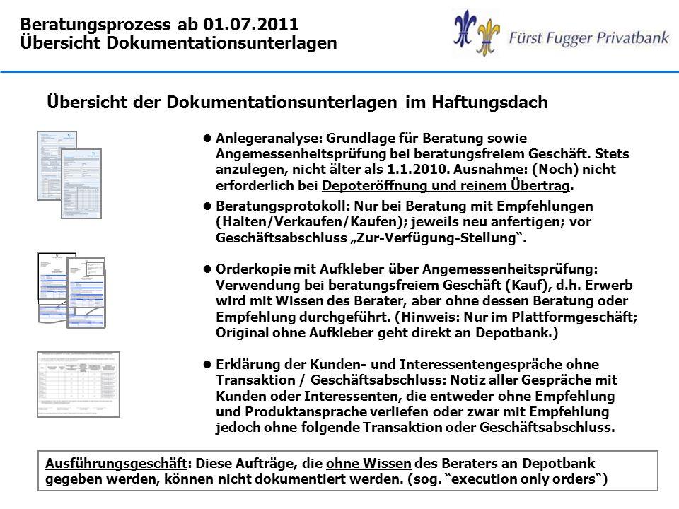 Beratungsprozess ab 01.07.2011 Übersicht Dokumentationsunterlagen