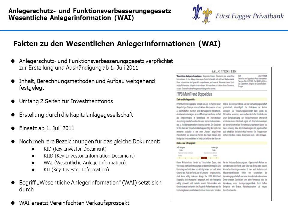 Fakten zu den Wesentlichen Anlegerinformationen (WAI)