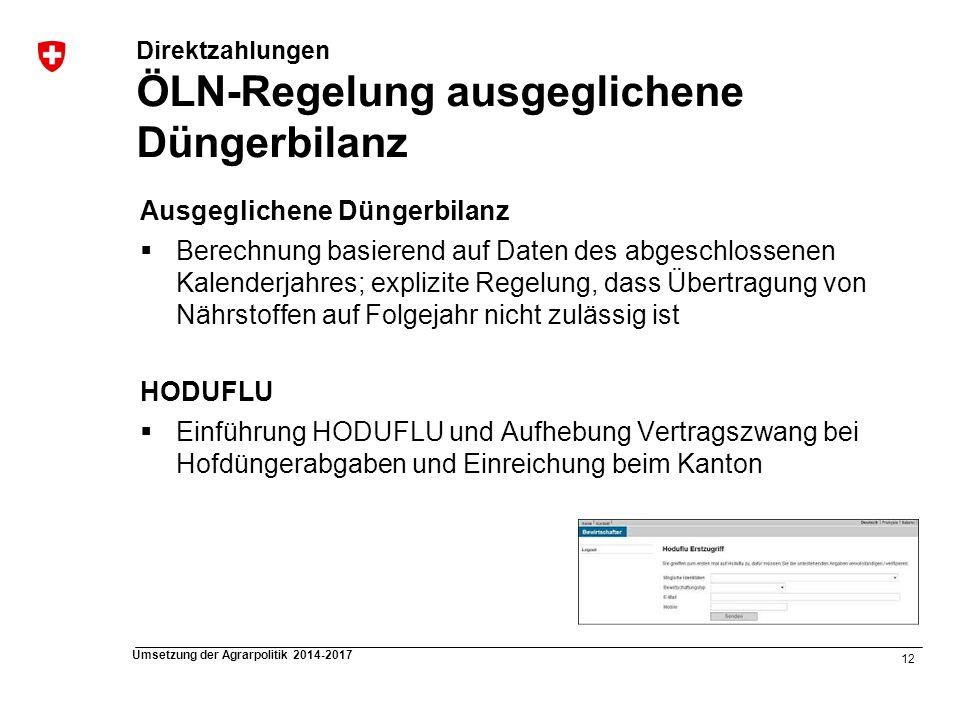 Direktzahlungen ÖLN-Regelung ausgeglichene Düngerbilanz