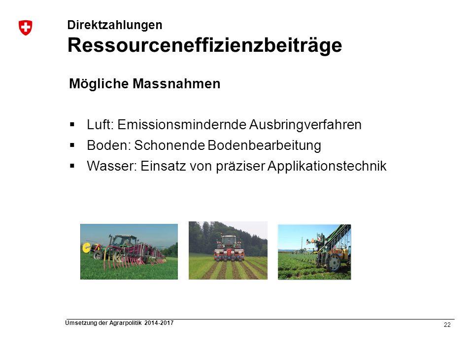 Direktzahlungen Ressourceneffizienzbeiträge