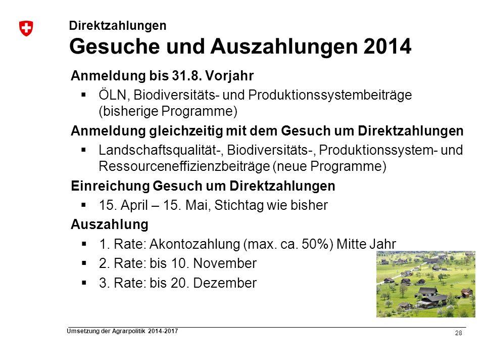 Direktzahlungen Gesuche und Auszahlungen 2014