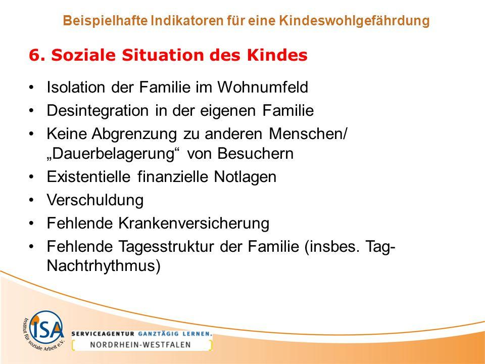Beispielhafte Indikatoren für eine Kindeswohlgefährdung