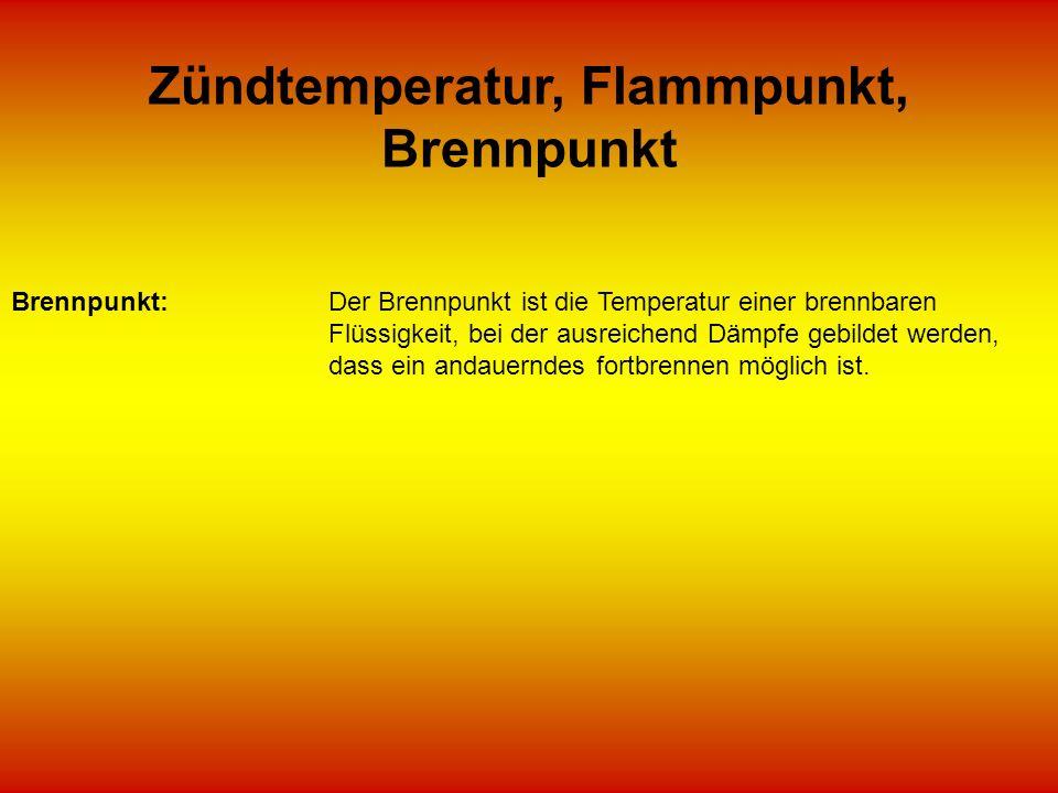 Zündtemperatur, Flammpunkt, Brennpunkt
