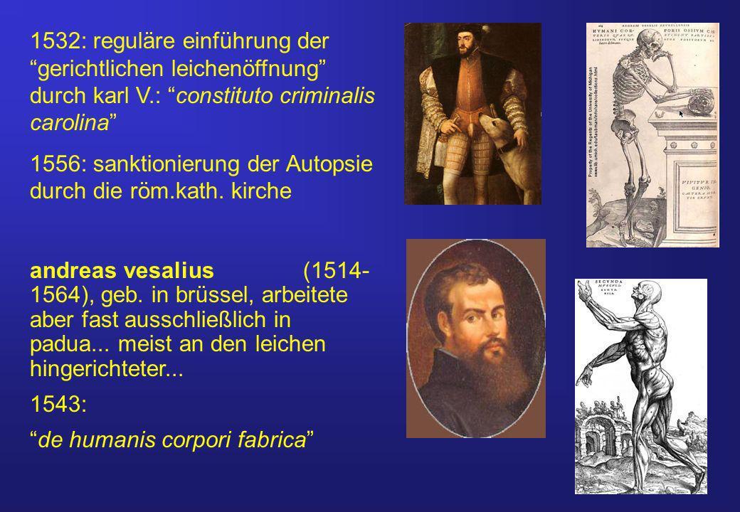 1532: reguläre einführung der gerichtlichen leichenöffnung durch karl V.: constituto criminalis carolina