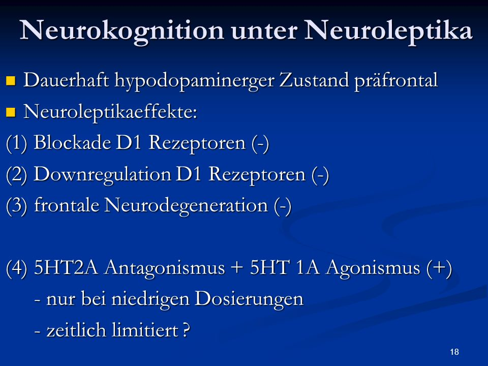 Neurokognition unter Neuroleptika