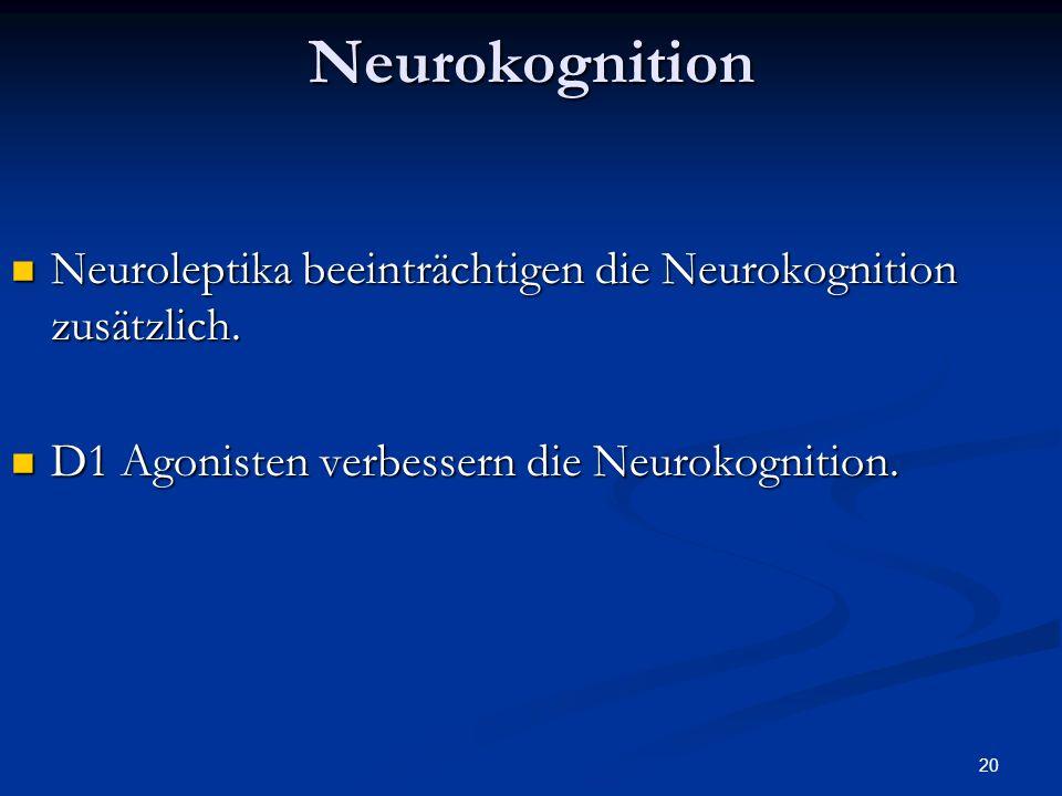 Neurokognition Neuroleptika beeinträchtigen die Neurokognition zusätzlich. D1 Agonisten verbessern die Neurokognition.