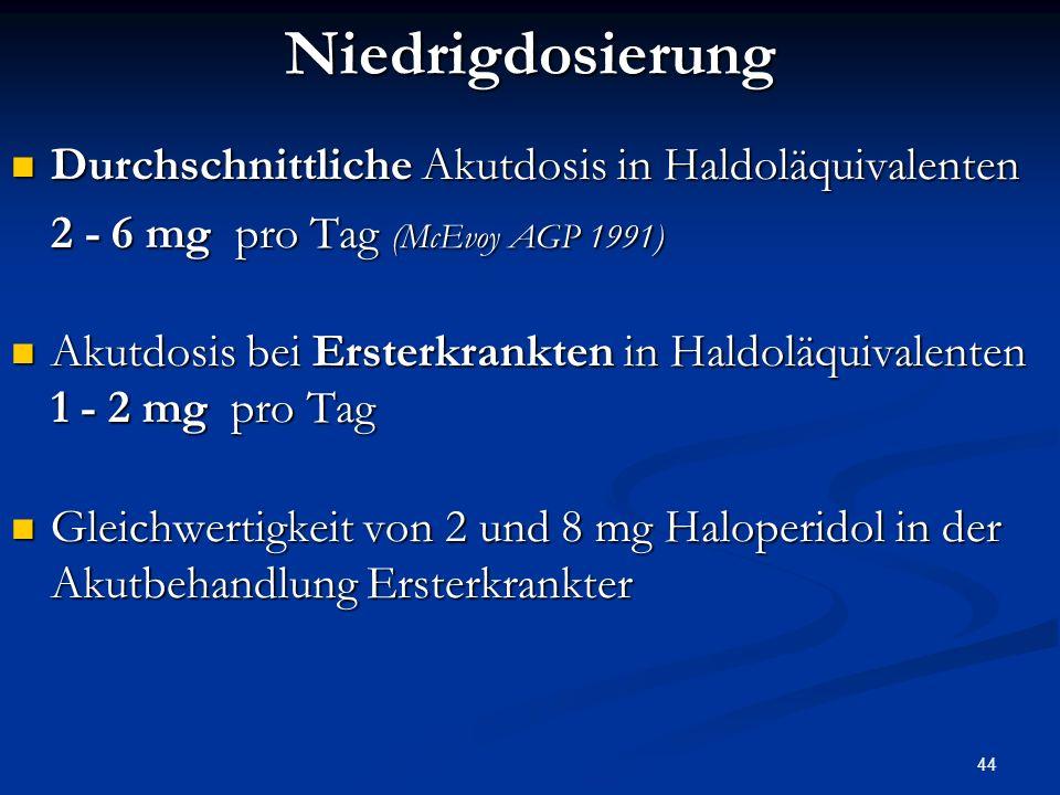 Niedrigdosierung Durchschnittliche Akutdosis in Haldoläquivalenten