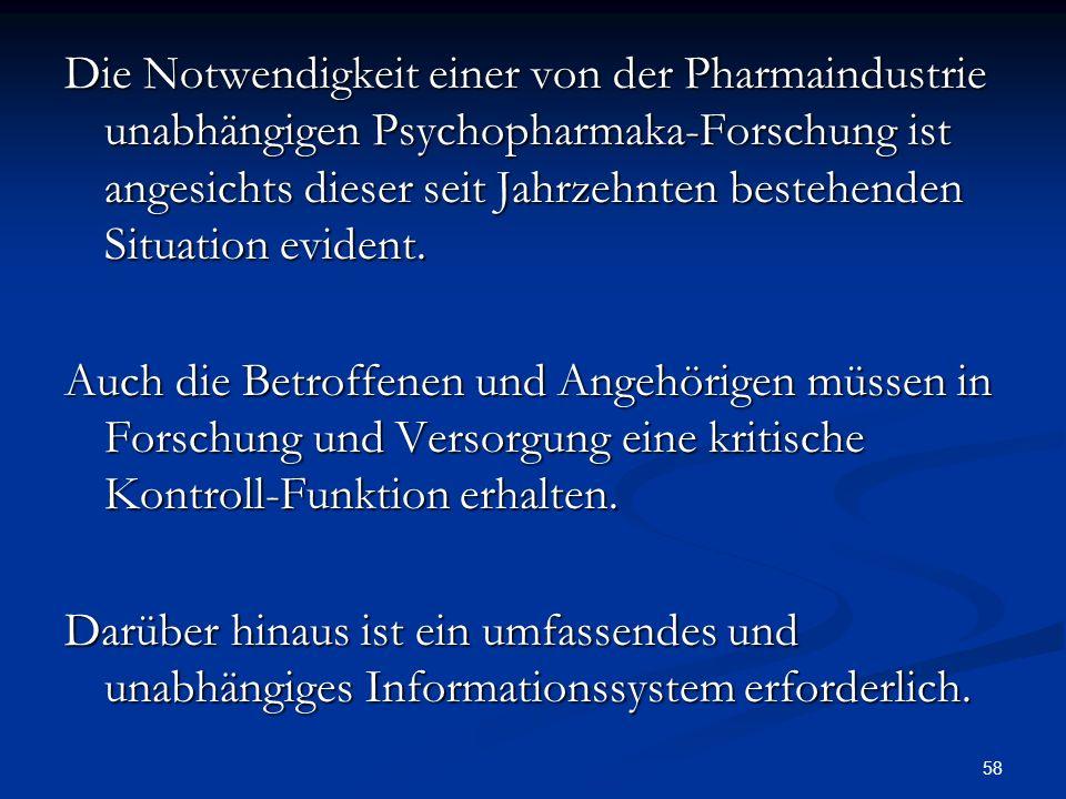 Die Notwendigkeit einer von der Pharmaindustrie unabhängigen Psychopharmaka-Forschung ist angesichts dieser seit Jahrzehnten bestehenden Situation evident.