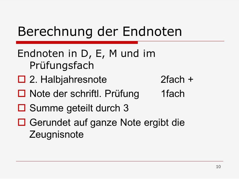 Berechnung der Endnoten
