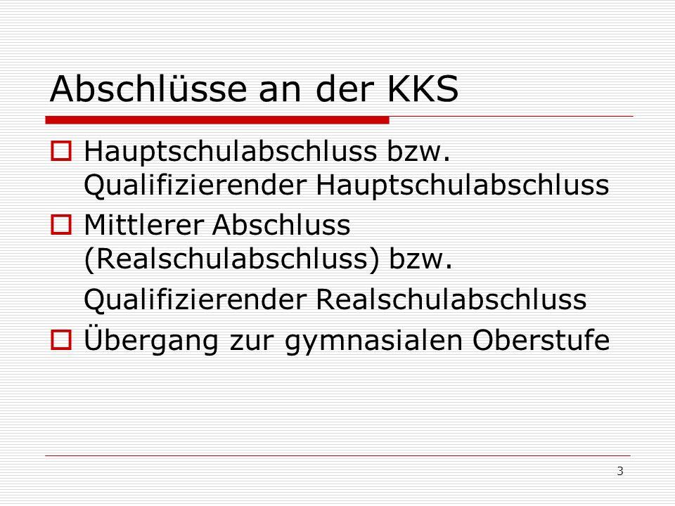 Abschlüsse an der KKS Hauptschulabschluss bzw. Qualifizierender Hauptschulabschluss. Mittlerer Abschluss (Realschulabschluss) bzw.