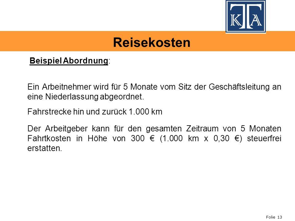 Reisekosten Beispiel Abordnung: