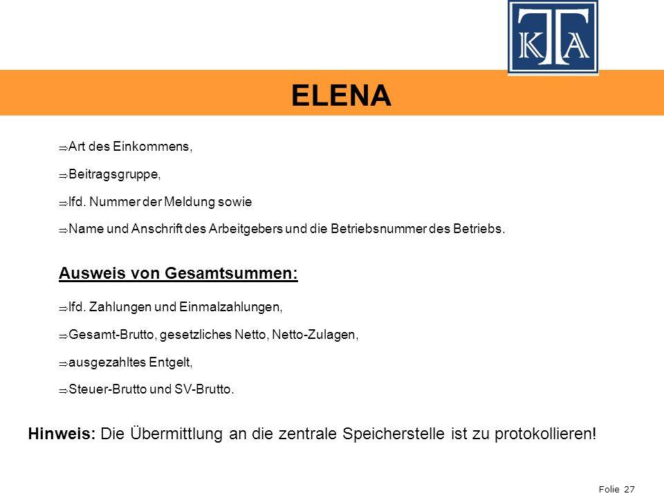 ELENA Ausweis von Gesamtsummen: