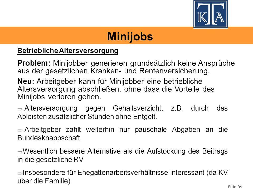 Minijobs Betriebliche Altersversorgung.