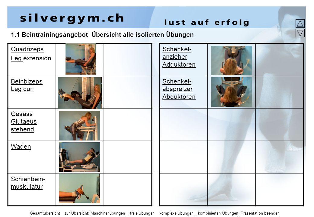 1.1 Beintrainingsangebot Übersicht alle isolierten Übungen Quadrizeps