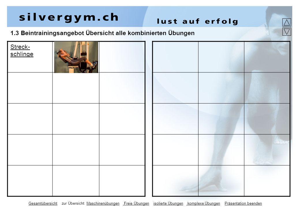 1.3 Beintrainingsangebot Übersicht alle kombinierten Übungen