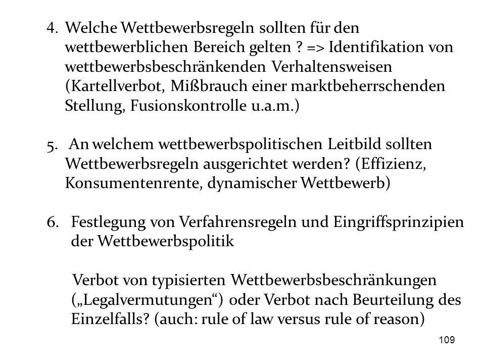 4. Welche Wettbewerbsregeln sollten für den wettbewerblichen Bereich gelten => Identifikation von wettbewerbsbeschränkenden Verhaltensweisen (Kartellverbot, Mißbrauch einer marktbeherrschenden Stellung, Fusionskontrolle u.a.m.)