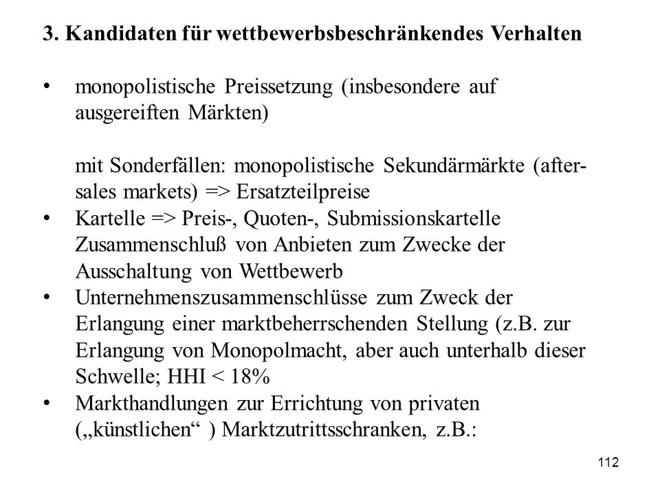 3. Kandidaten für wettbewerbsbeschränkendes Verhalten
