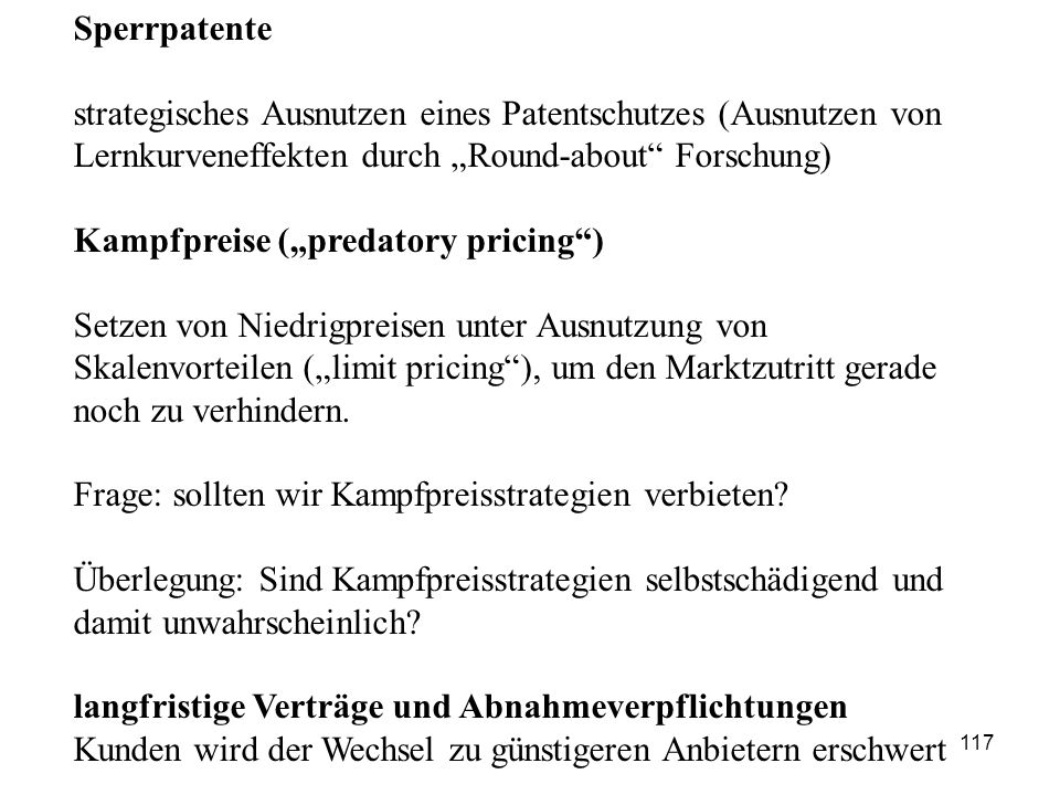"Kampfpreise (""predatory pricing )"