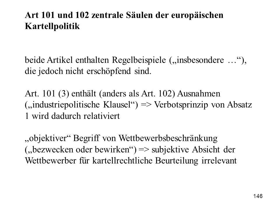 Art 101 und 102 zentrale Säulen der europäischen Kartellpolitik