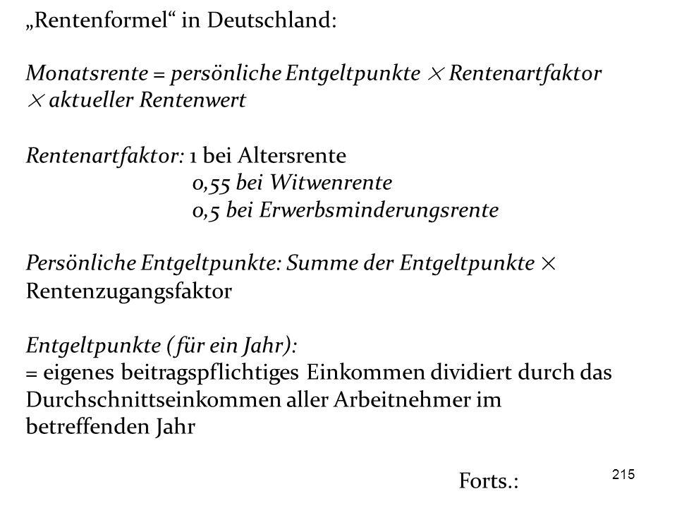 """""""Rentenformel in Deutschland:"""