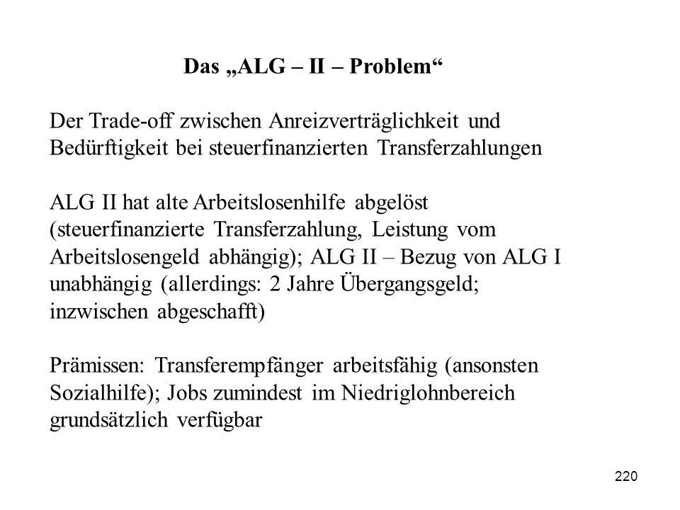 """Das """"ALG – II – Problem Der Trade-off zwischen Anreizverträglichkeit und Bedürftigkeit bei steuerfinanzierten Transferzahlungen."""