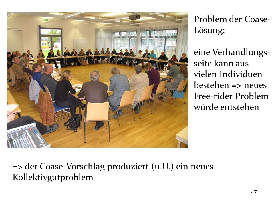 Problem der Coase-Lösung: