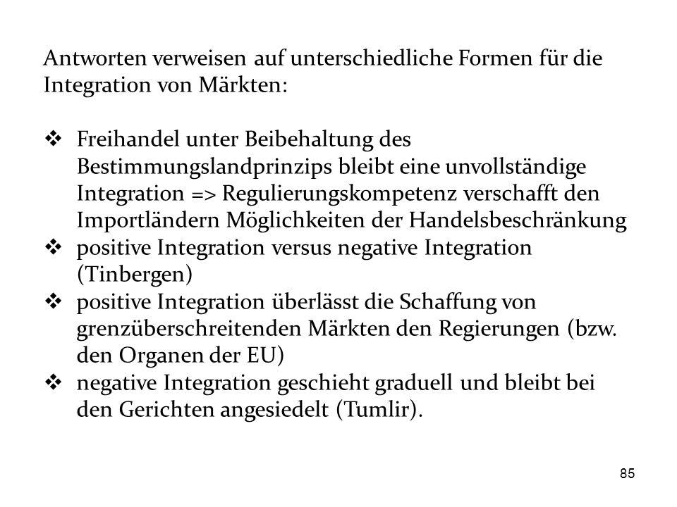 Antworten verweisen auf unterschiedliche Formen für die Integration von Märkten: