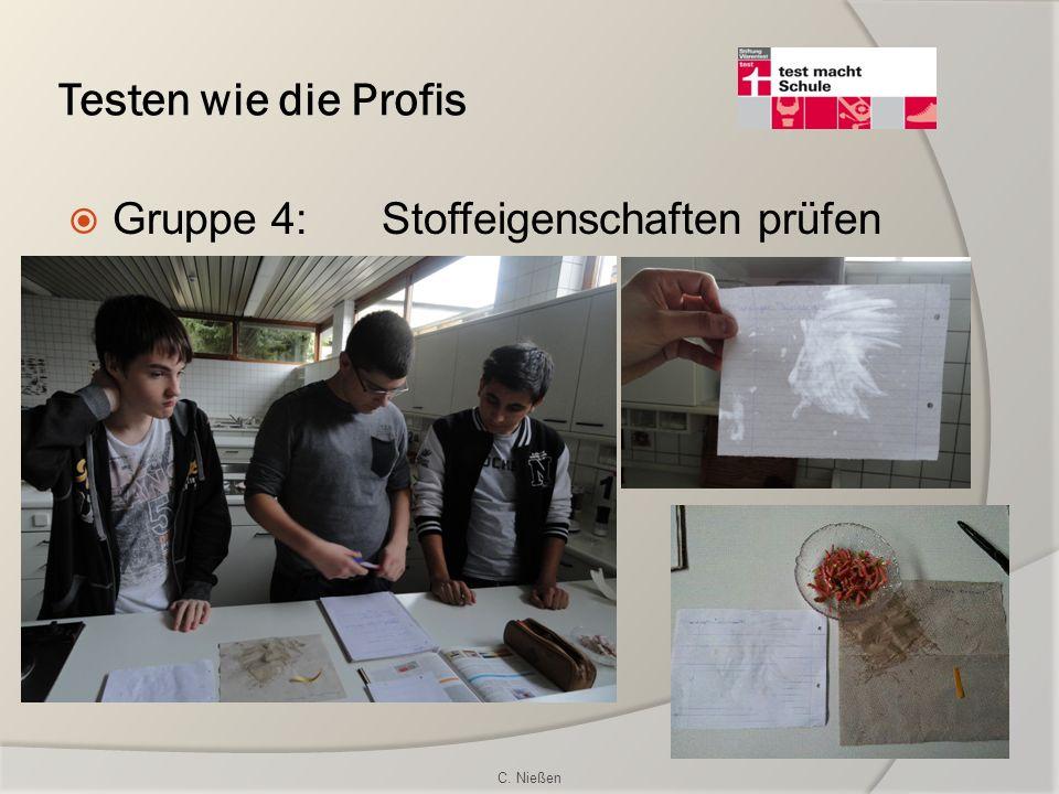 Testen wie die Profis Gruppe 4: Stoffeigenschaften prüfen C. Nießen
