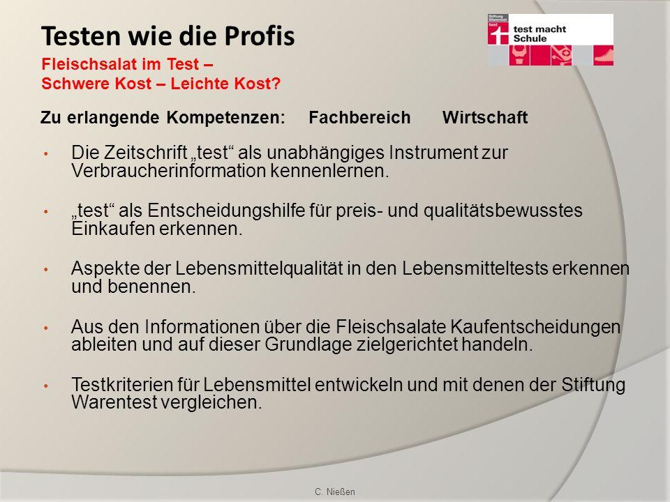 Testen wie die Profis Fleischsalat im Test – Schwere Kost – Leichte Kost Zu erlangende Kompetenzen: Fachbereich Wirtschaft.