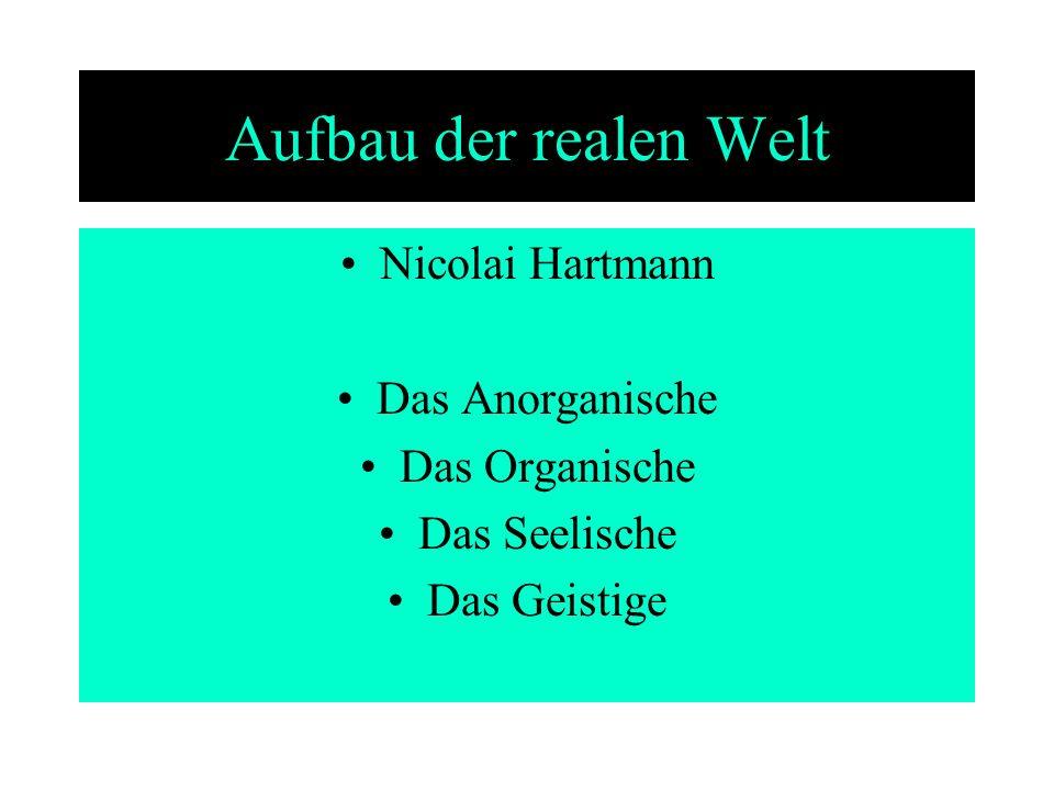 Aufbau der realen Welt Nicolai Hartmann Das Anorganische