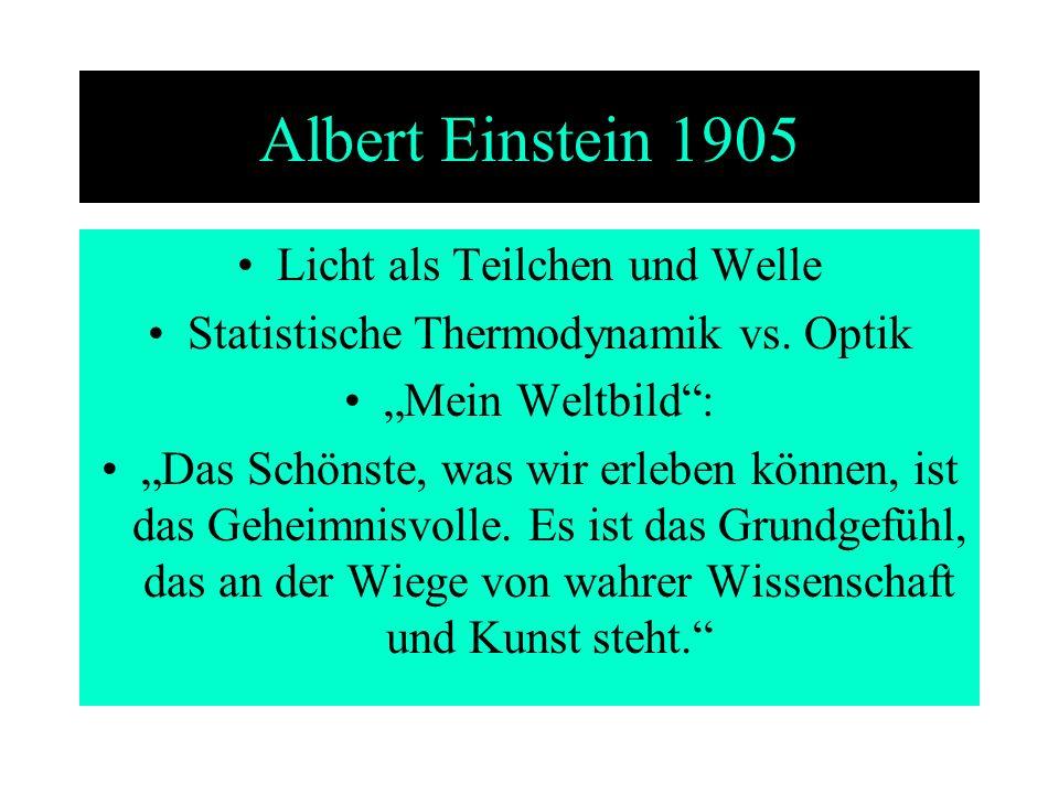 Albert Einstein 1905 Licht als Teilchen und Welle