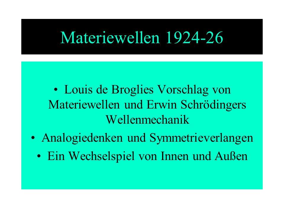 Materiewellen 1924-26 Louis de Broglies Vorschlag von Materiewellen und Erwin Schrödingers Wellenmechanik.