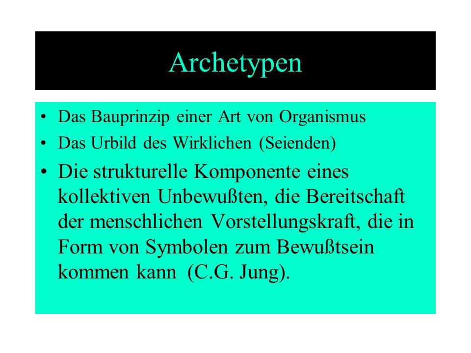 Archetypen Das Bauprinzip einer Art von Organismus. Das Urbild des Wirklichen (Seienden)