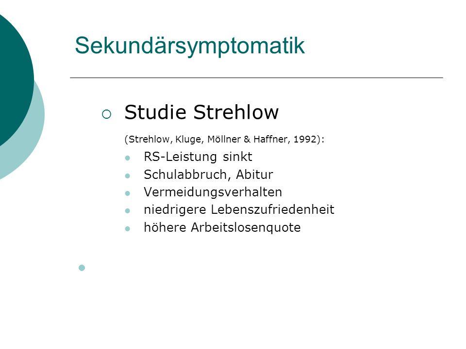 Sekundärsymptomatik Studie Strehlow RS-Leistung sinkt