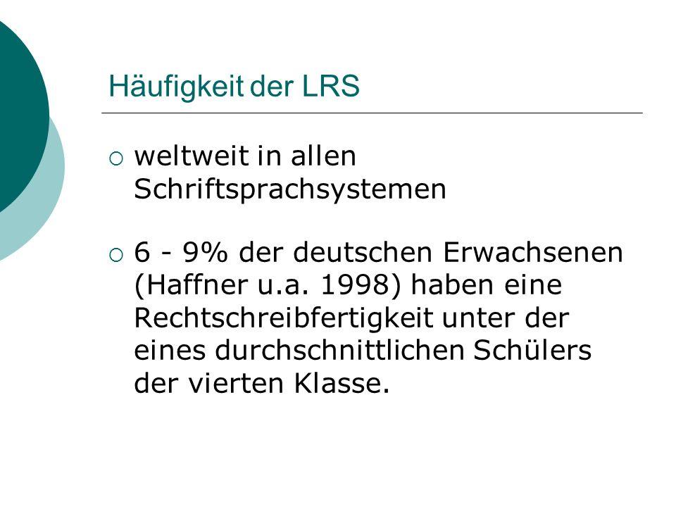Häufigkeit der LRS weltweit in allen Schriftsprachsystemen
