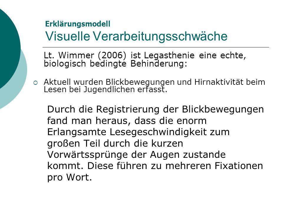 Erklärungsmodell Visuelle Verarbeitungsschwäche