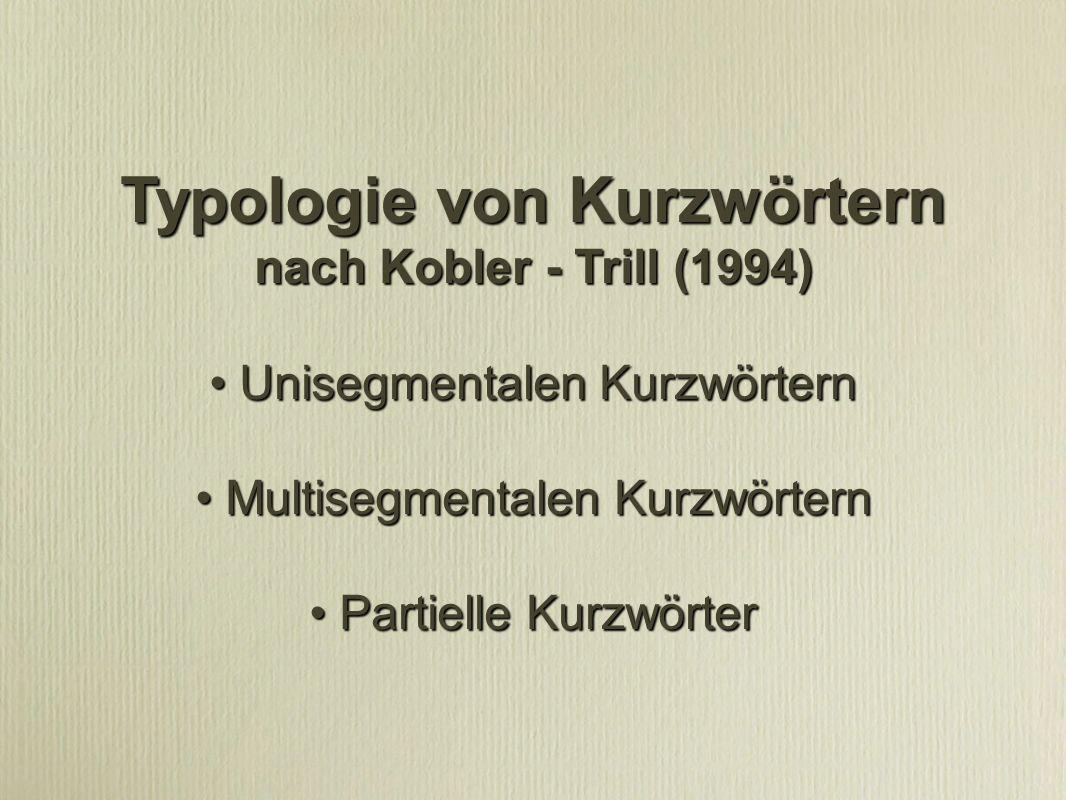 Typologie von Kurzwörtern