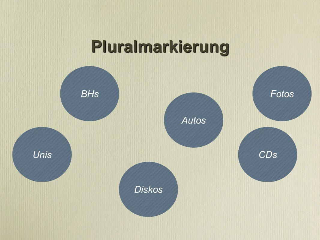 Pluralmarkierung BHs Fotos Autos Unis CDs Diskos