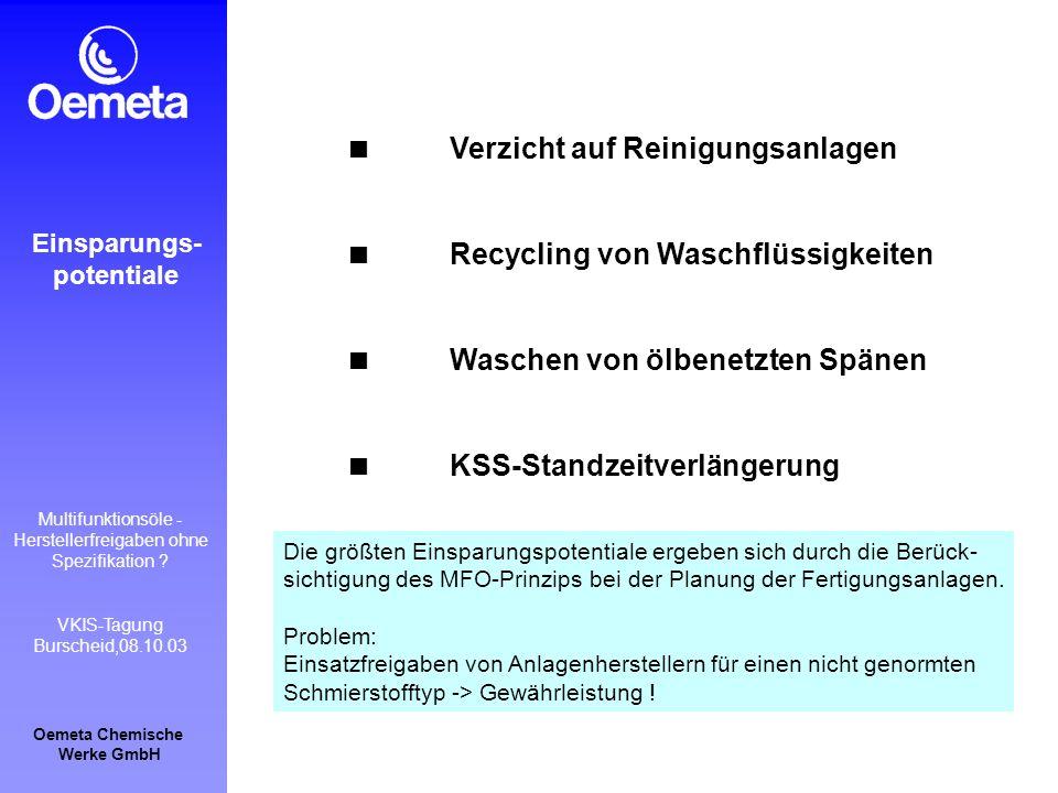 Verzicht auf Reinigungsanlagen
