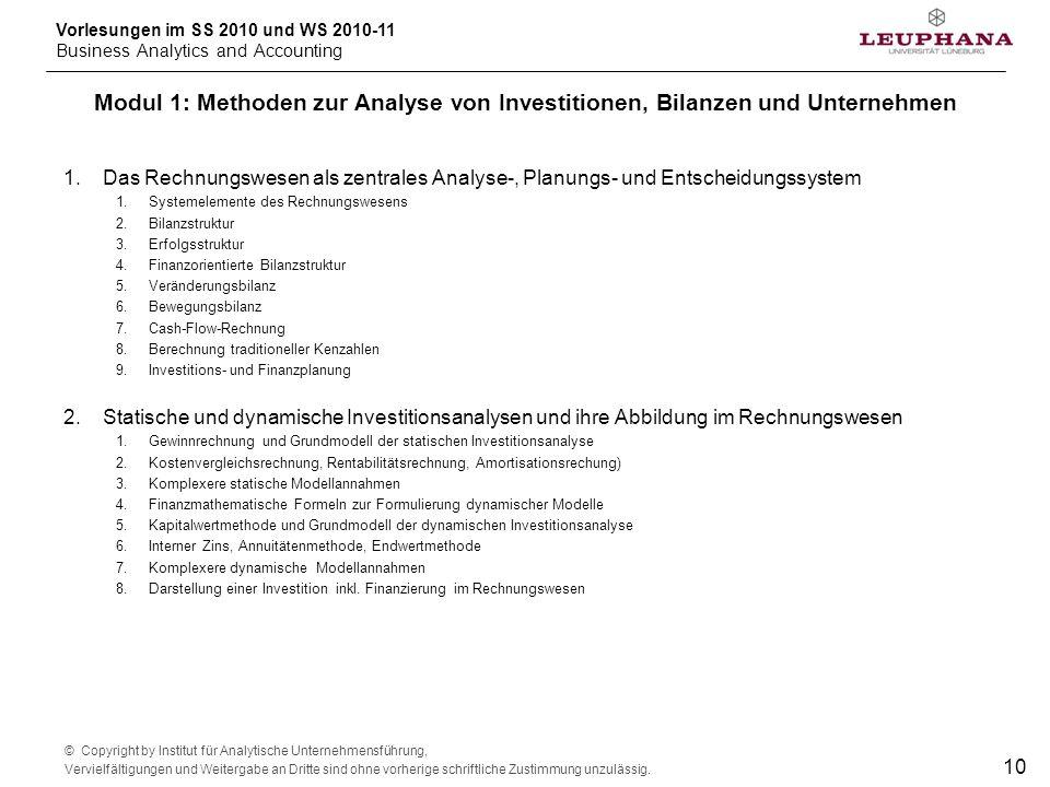 Modul 1: Methoden zur Analyse von Investitionen, Bilanzen und Unternehmen