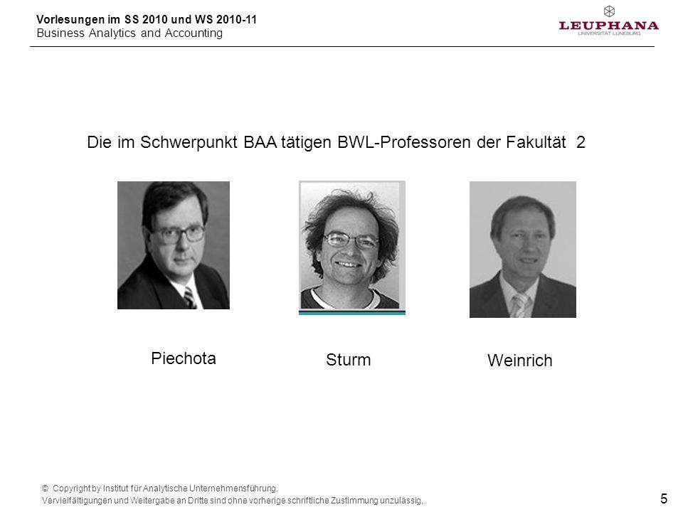 Die im Schwerpunkt BAA tätigen BWL-Professoren der Fakultät 2