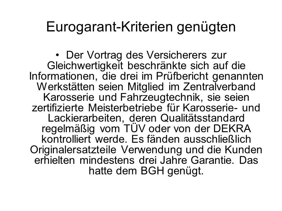 Eurogarant-Kriterien genügten