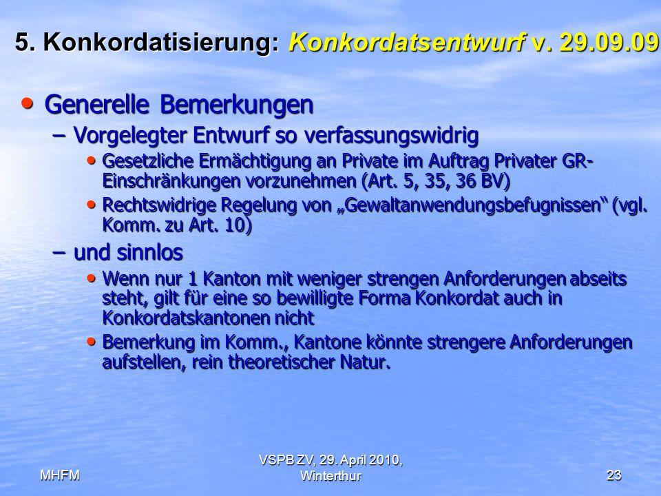 5. Konkordatisierung: Konkordatsentwurf v. 29.09.09