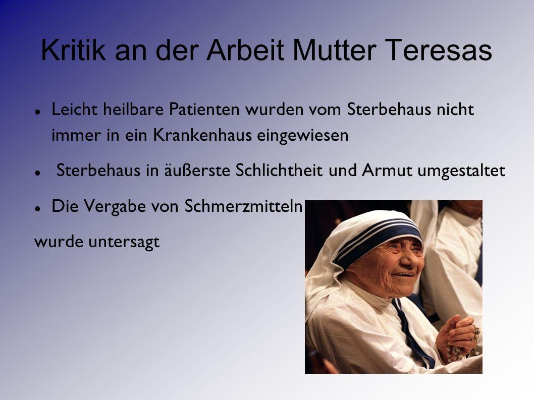 Kritik an der Arbeit Mutter Teresas