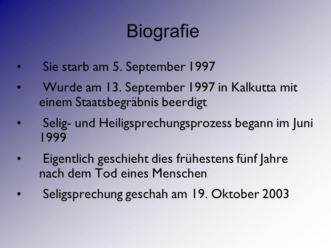 Biografie Sie starb am 5. September 1997