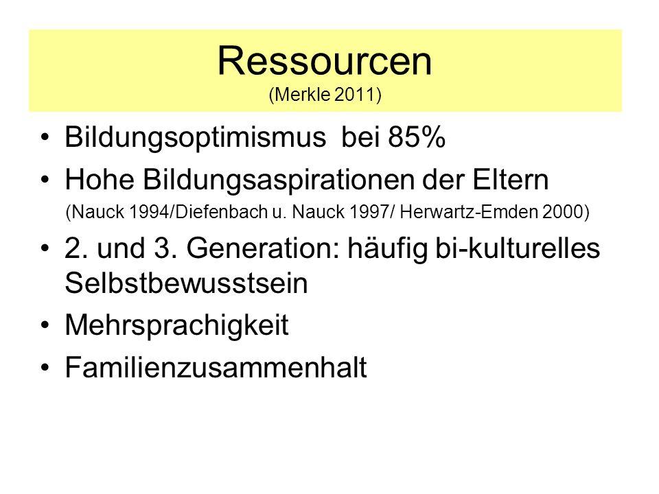 Ressourcen (Merkle 2011) Bildungsoptimismus bei 85%